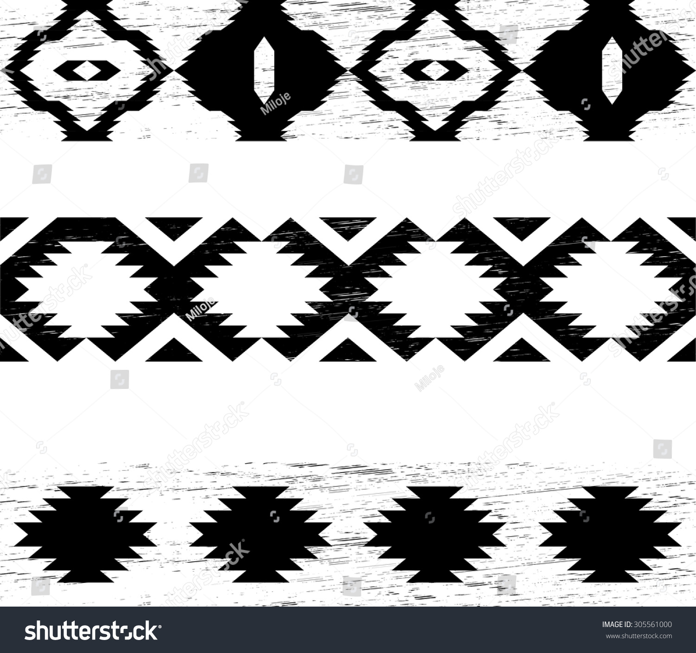 navajo border designs. Tribal Seamless Pattern Collection . Aztec Navajo Black Grunge Border Set Ethnic Vector Designs