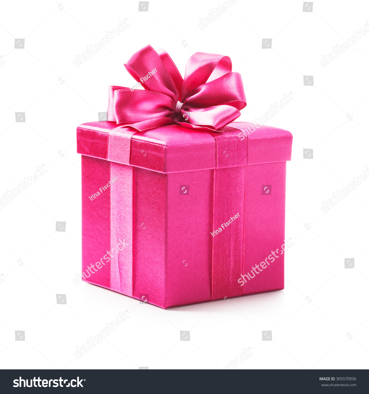 Pink gift box with ribbon bow holiday present object isolated on negle Choice Image
