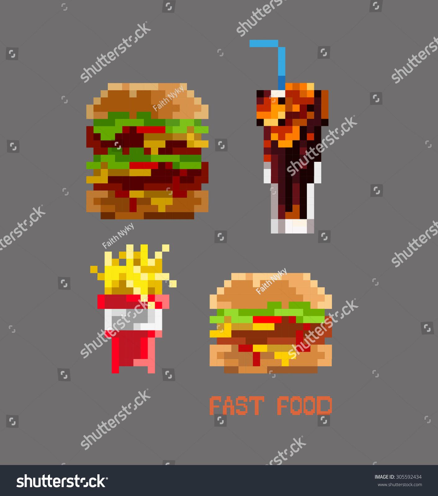 Image Vectorielle De Stock De Set Catchy Pixel Art Fast Food