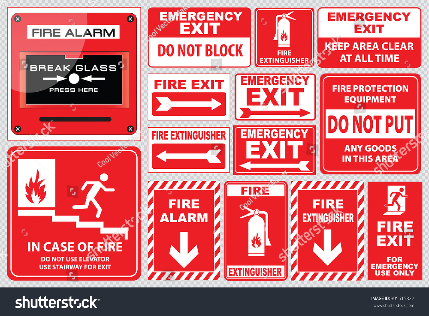 set fire alarm fire alarm break stock vector 305615822