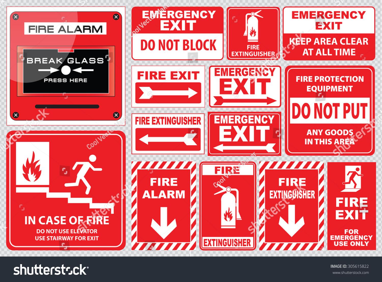 set of fire alarm fire alarm break glass press here