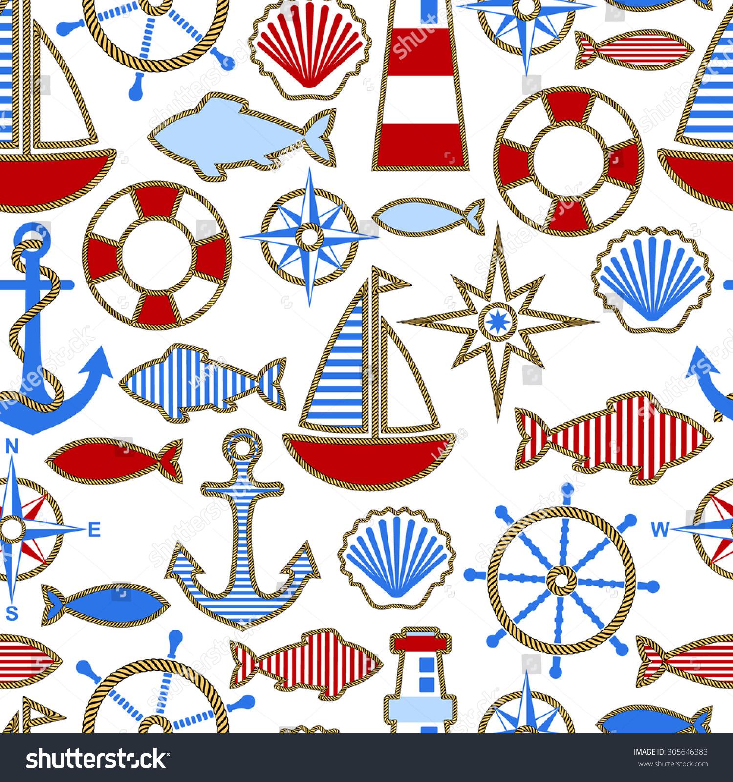 Key Elements Of Nautical Style: Seamless Pattern Nautical Design Elements Flat Stock