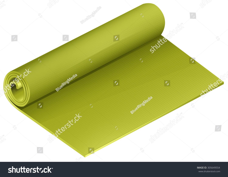 Green Yoga Mattress Roll Illustration