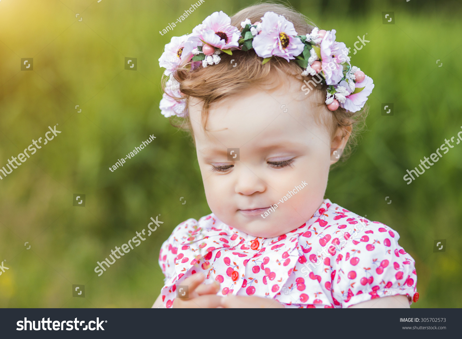 nice little baby girl portrait outdoor stock photo (royalty free