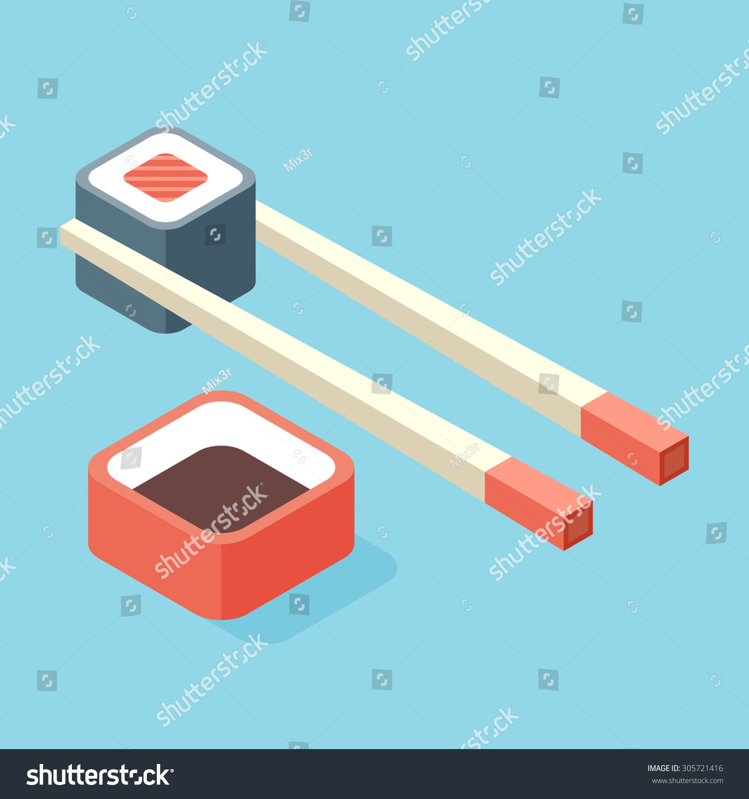 Food Illustration Sushi Roll With Nori Modern 3d Flat