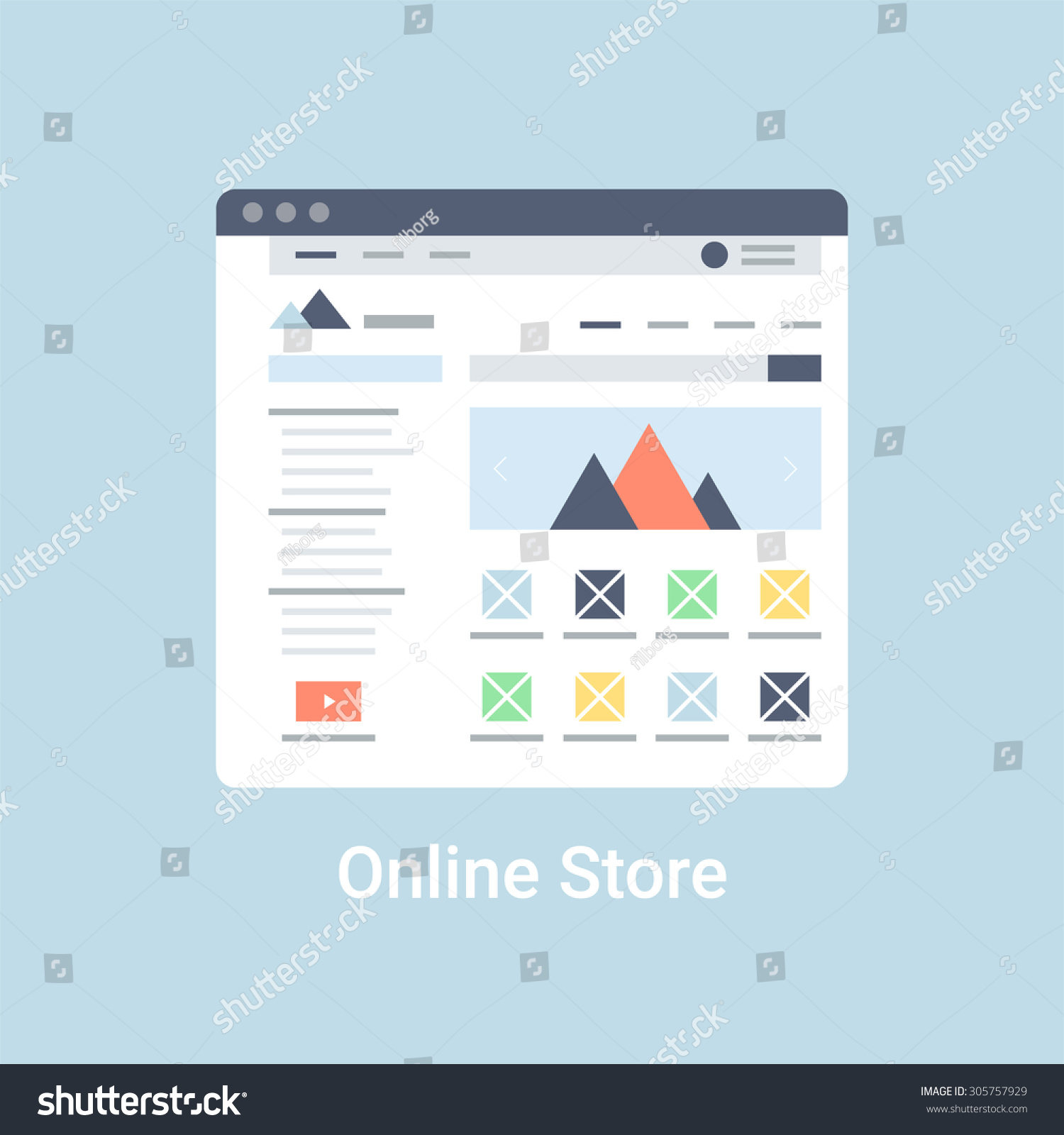 Online store website wireframe interface template stock for Online shop for website