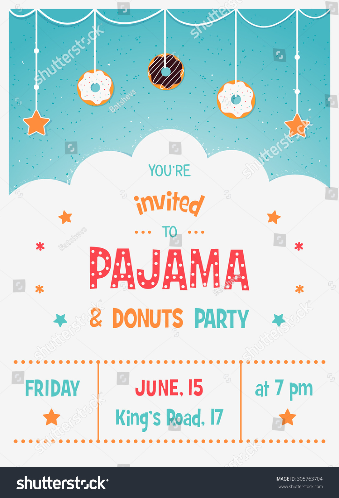 Pajama and Donuts Kids Party Invitation Card Template