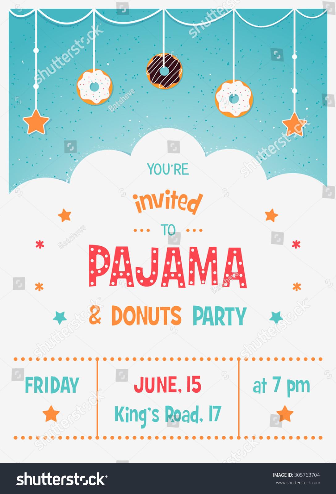 Pajama Donuts Kids Party Invitation Card Stock Vector (Royalty Free ...