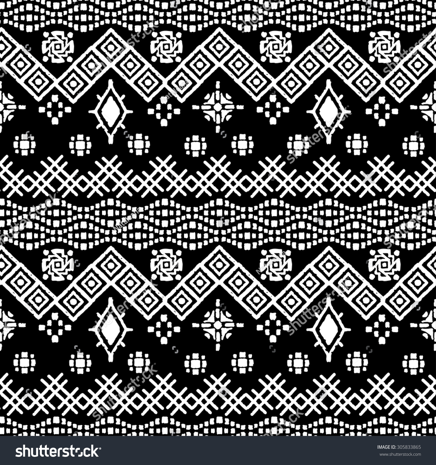 Tribal Art Boho Seamless Pattern Ethnic Geometric Print Repeating Border Background Texture In Black And White Fabric Cloth Design Wallpaper