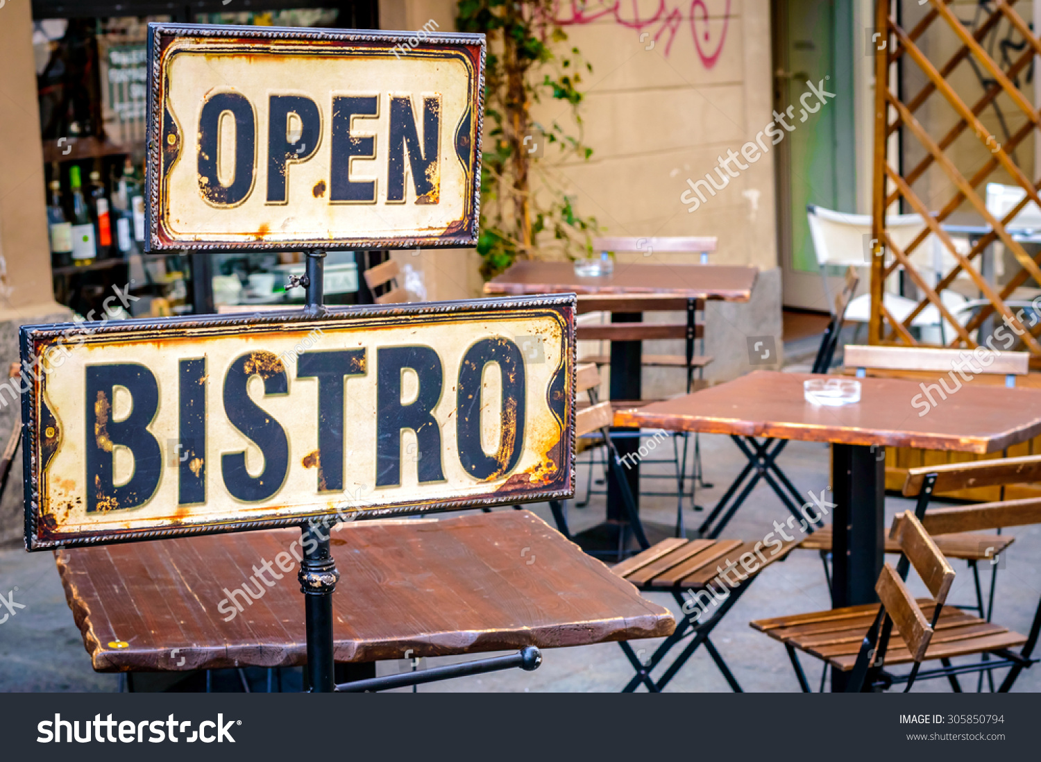 Open bistro sign empty cafe terrace stock photo 305850794 for Open terrace restaurants