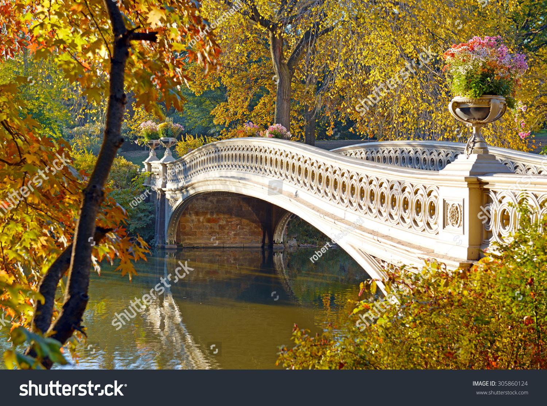 autumn color bow bridge fall foliage stock photo 305860124