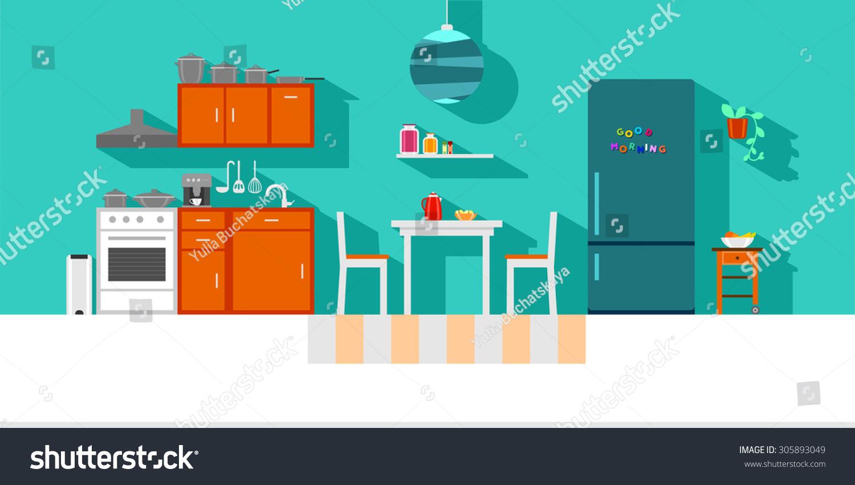 Small Kitchen Interior Flat Design Vibrant Stock Illustration ...