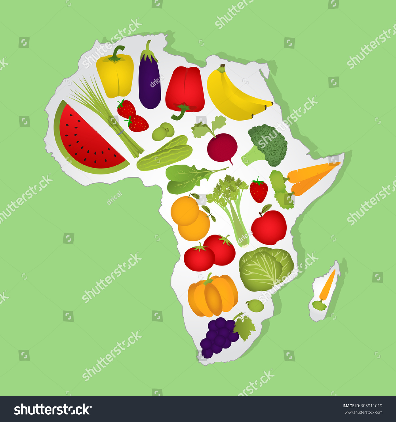 Map Africa Full Fruits Vegetables Green Stock Vector (Royalty Free