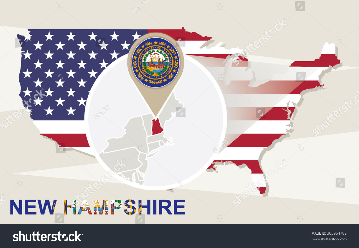 Usa Map Magnified New Hampshire State Stock Vector - Usa map new hampshire