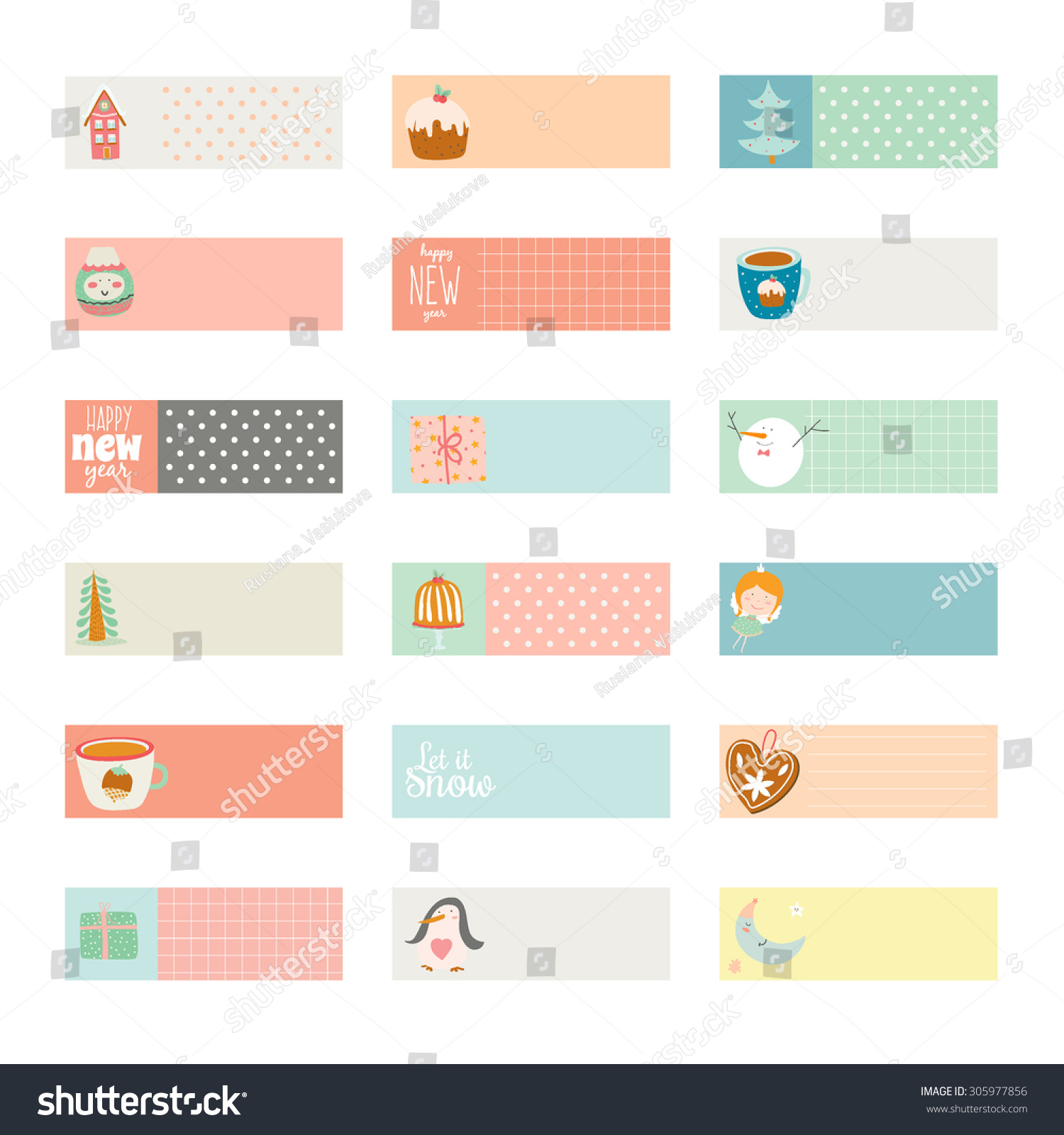 cute vector cards notes stickers labels stock vector (royalty free