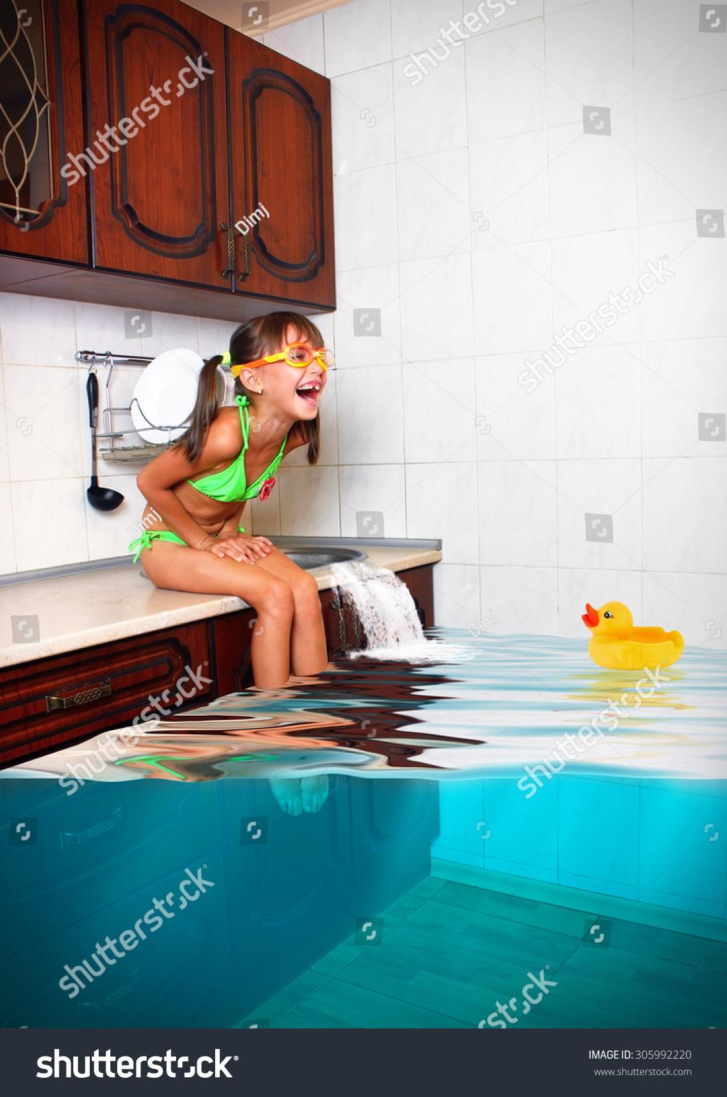 Child Girl Make Mess Flooded Kitchen Stock Photo 305992220 Shutterstock
