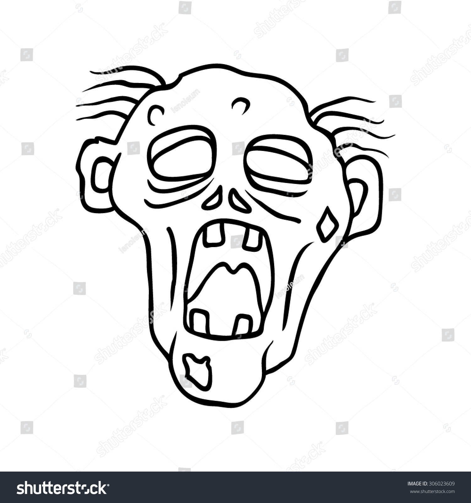Zombie Face Line Drawing : Funny moaning zombie line art hand stock vector