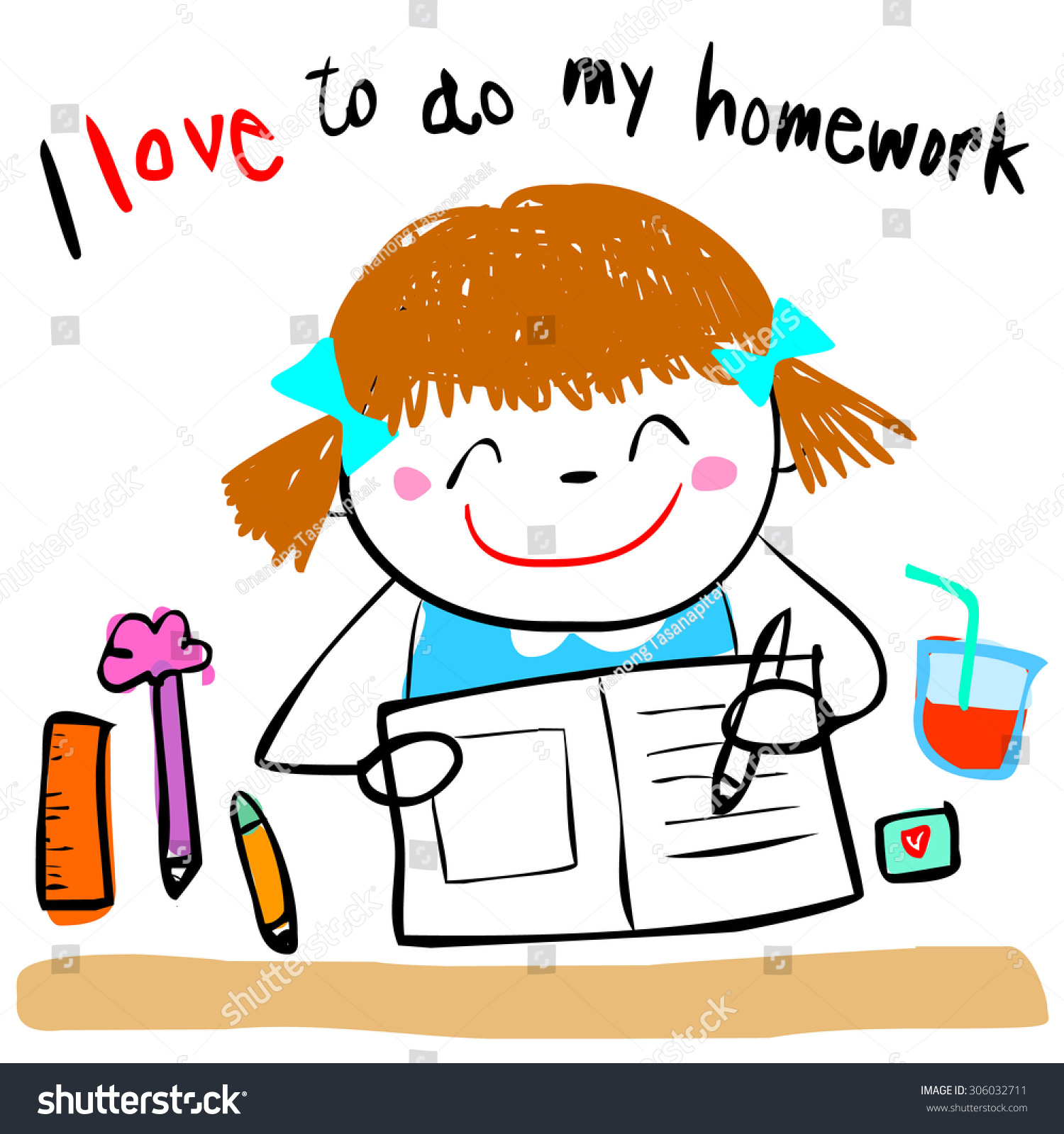 Cute Girl Do Her Homework Doodle Stock Vector 306032711