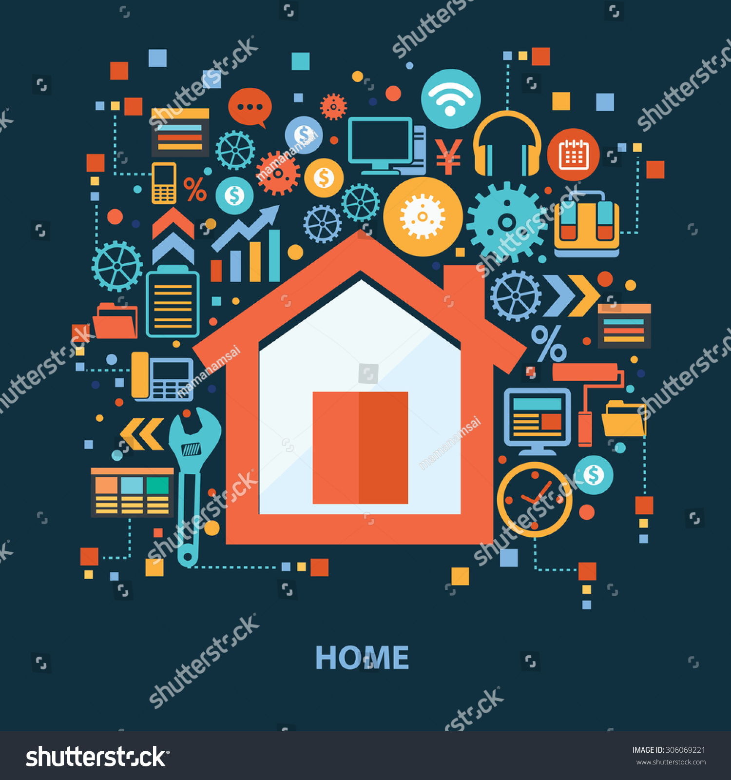 Home Concept Design On Dark Backgroundclean Stock Vector 306069221 ...