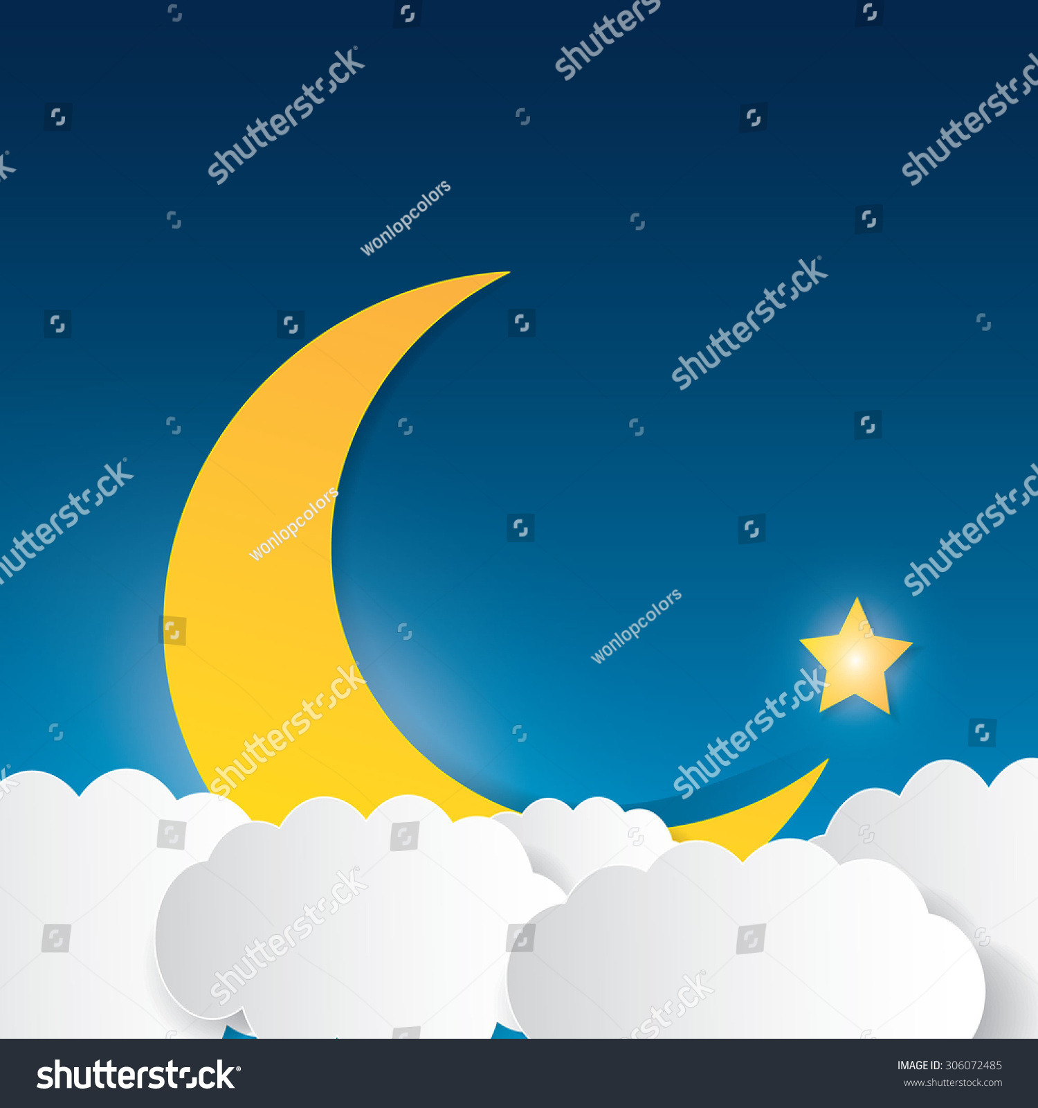 moon clouds stars sweet dreams wallpaper stock vector 306072485
