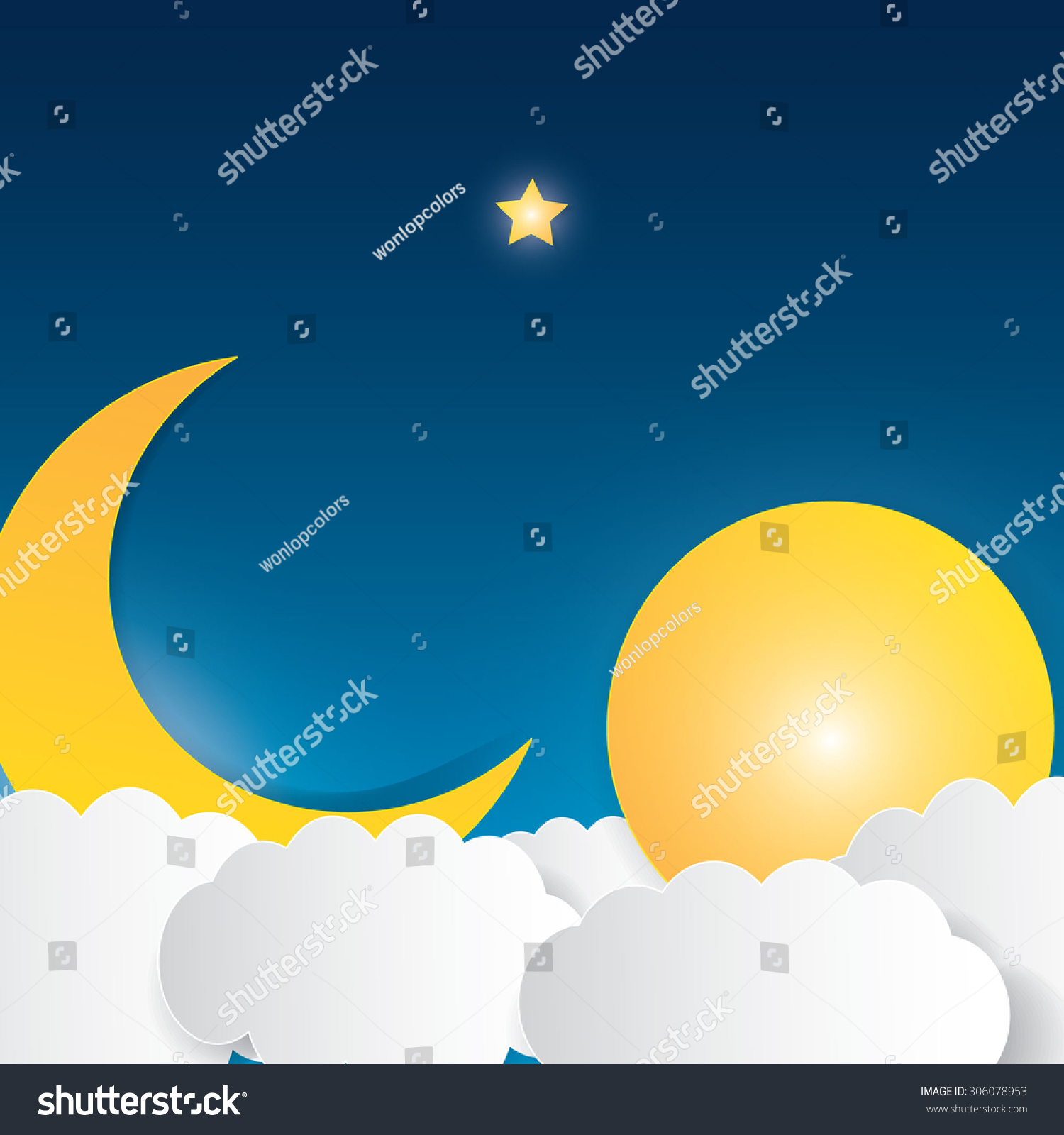 moon clouds stars sweet dreams wallpaper stock vector 306078953