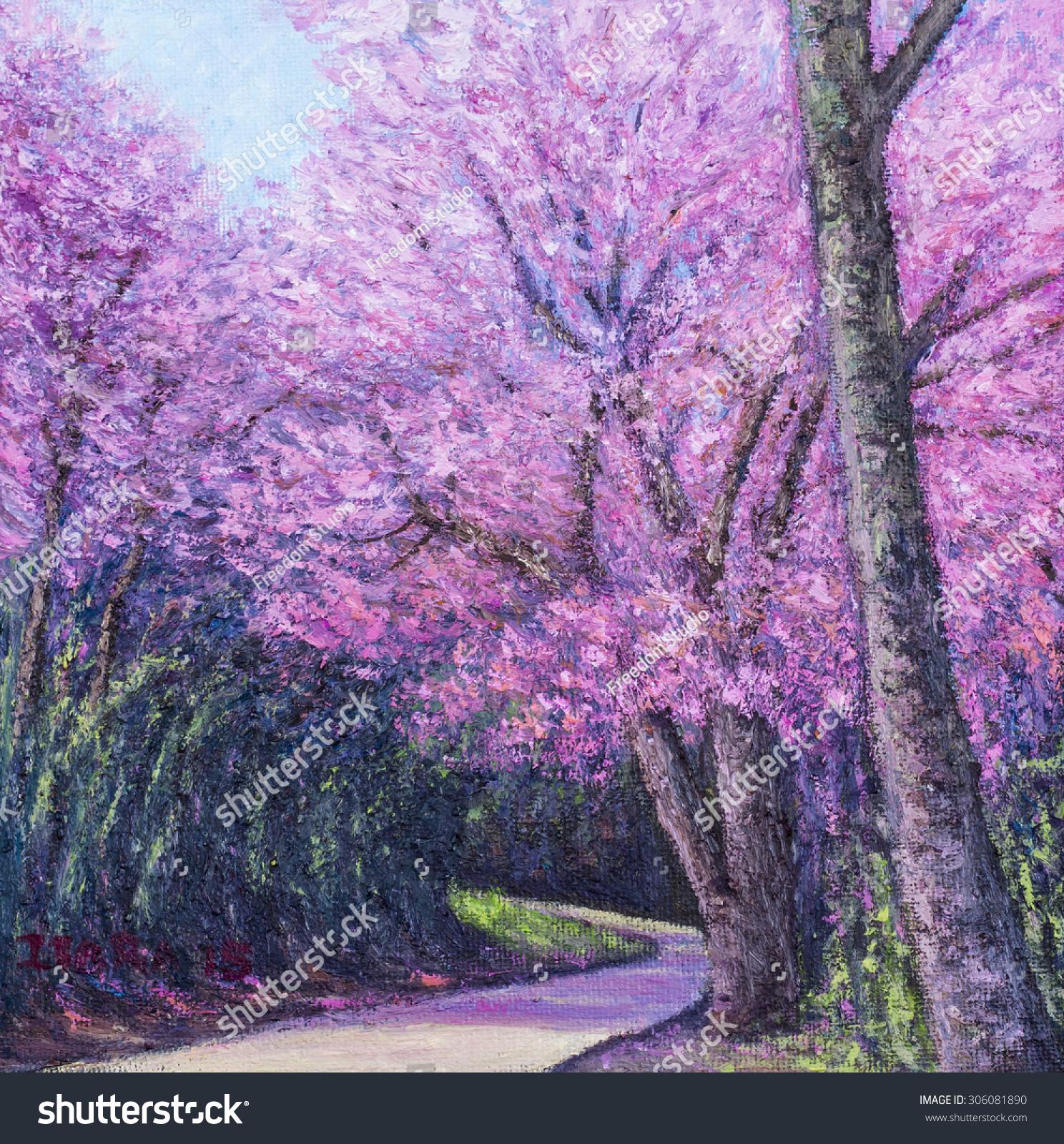 Pink Flowers Trees Chiangmai Thailand Original Oil Stock