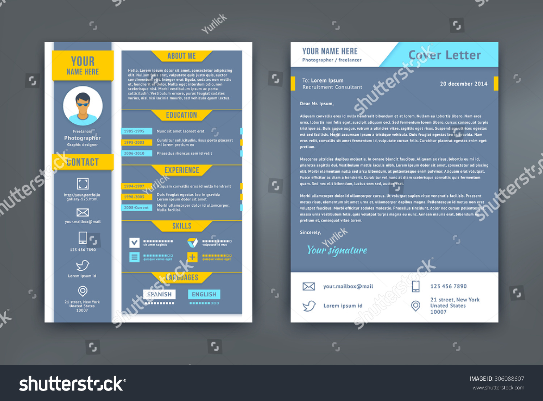 Resume Cover Letter Cv Vector Design Stock Vector 306088607