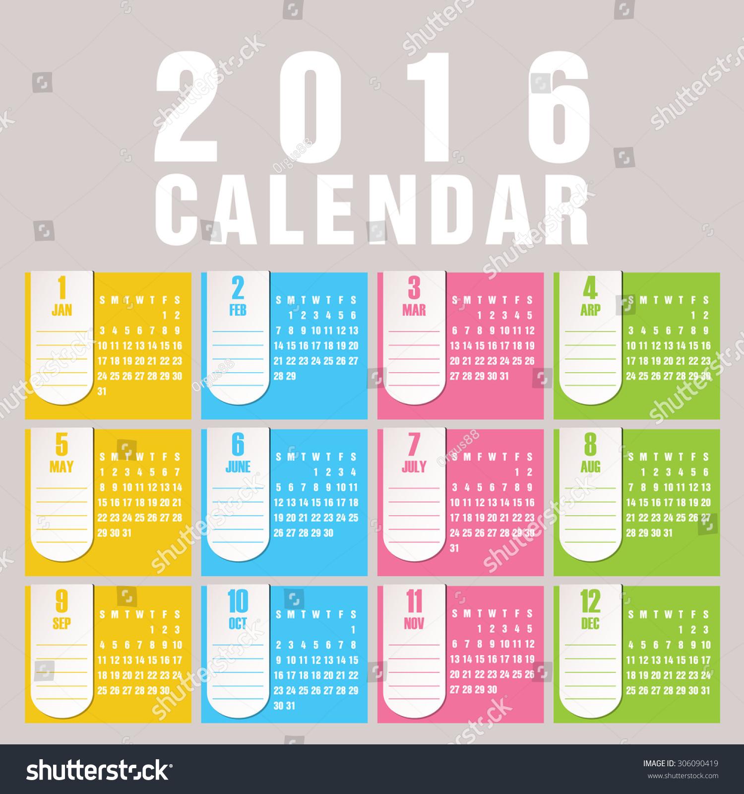 Minimalist Calendar Design : Simple calendar design stock vector