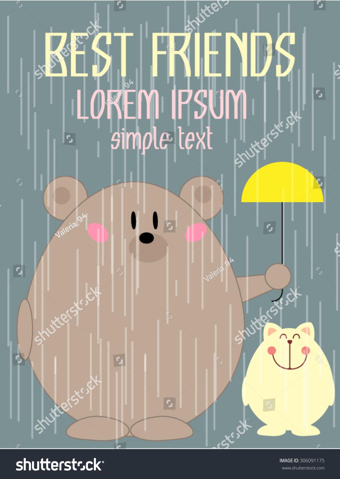 Creative Card Love Friend Theme Design Vector 306091175 – Friendship Card Template