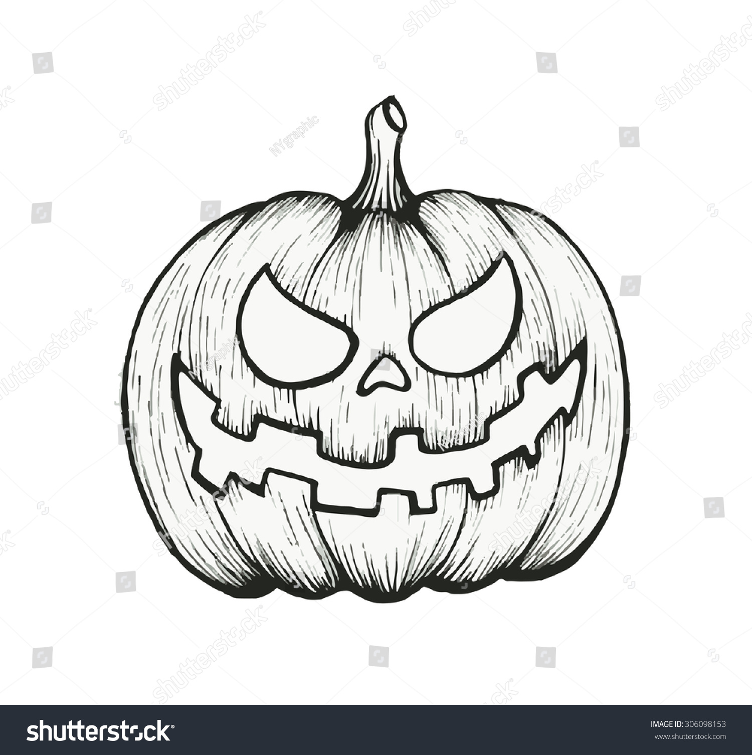 Halloween Pumpkin Drawing Picture.Vector Hand Draw Halloween Pumpkin Stock Vector Royalty Free 306098153