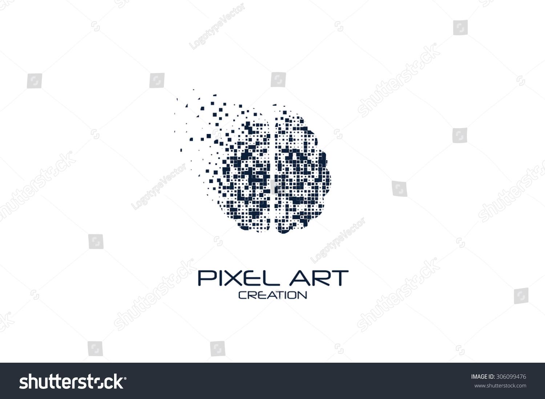 Pixel Art Brain Logo On White Background.