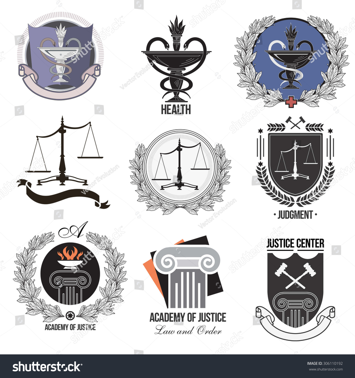 Health Medical Law: Set Justice Academy Health Care Logos Stock Vector