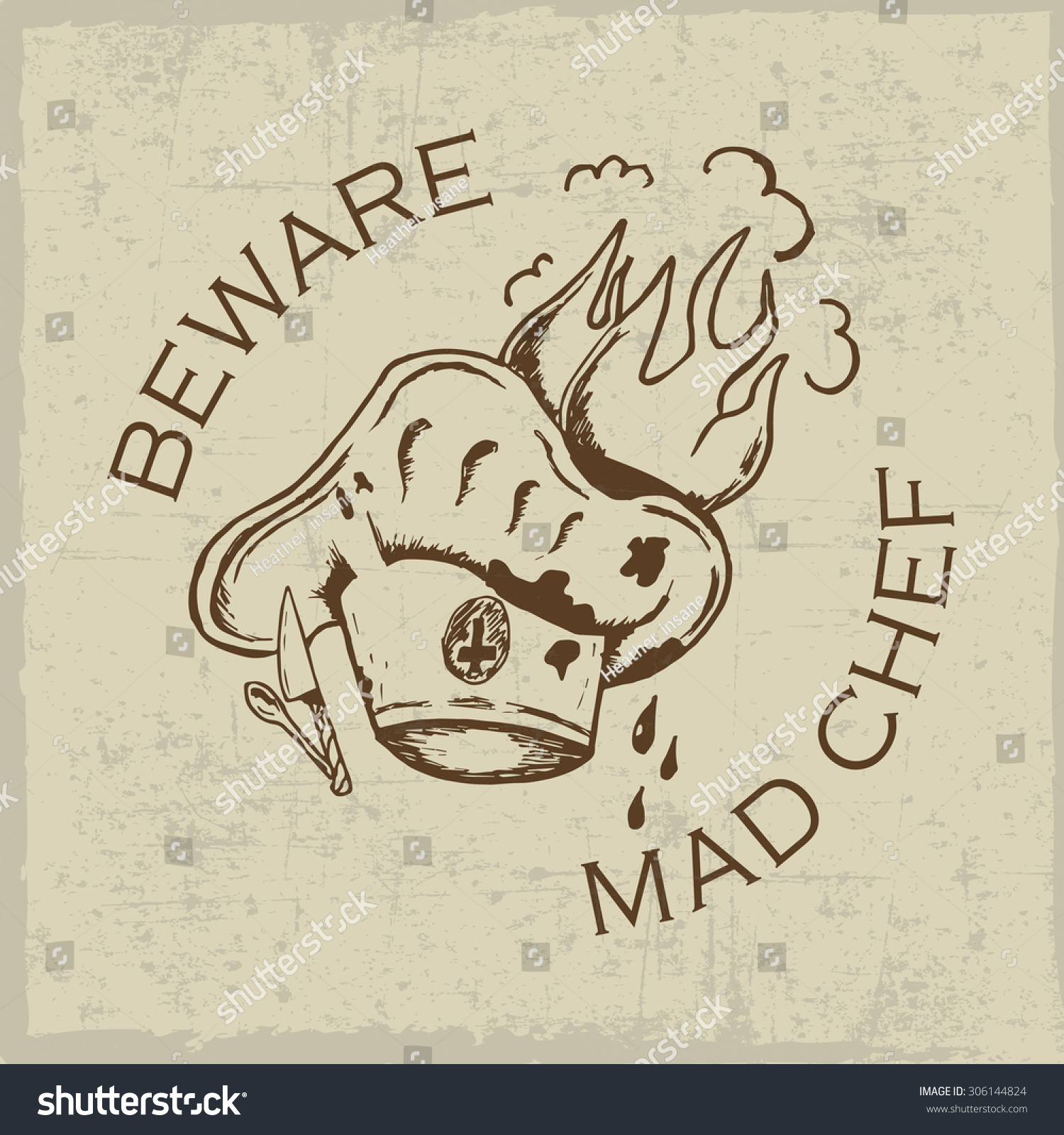 Shirt design ink - Beware Mad Chef T Shirt Design With Ink Hand Drawn Hat Knife And Spoon