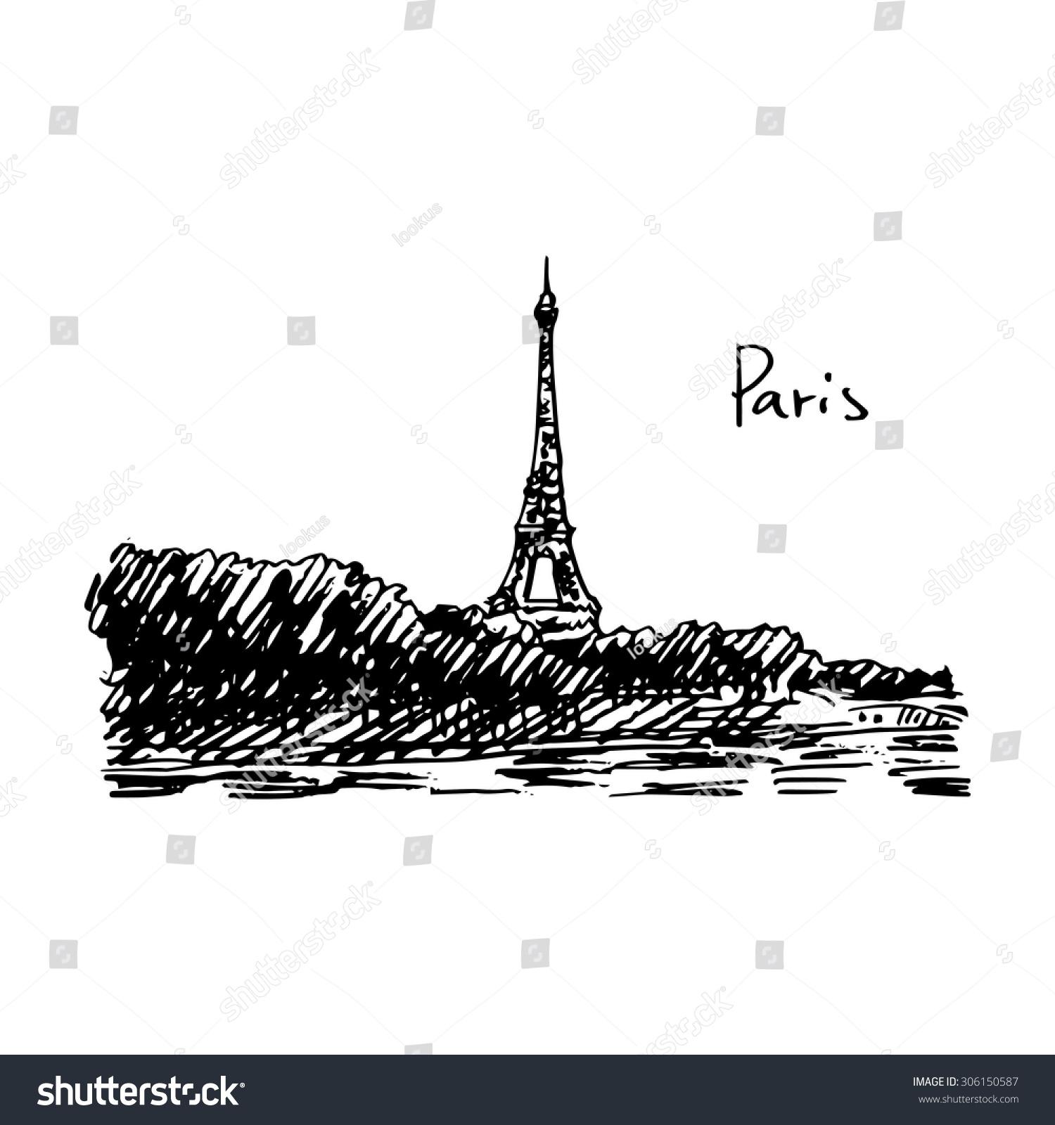 Paris eiffel tower vector quick sketch