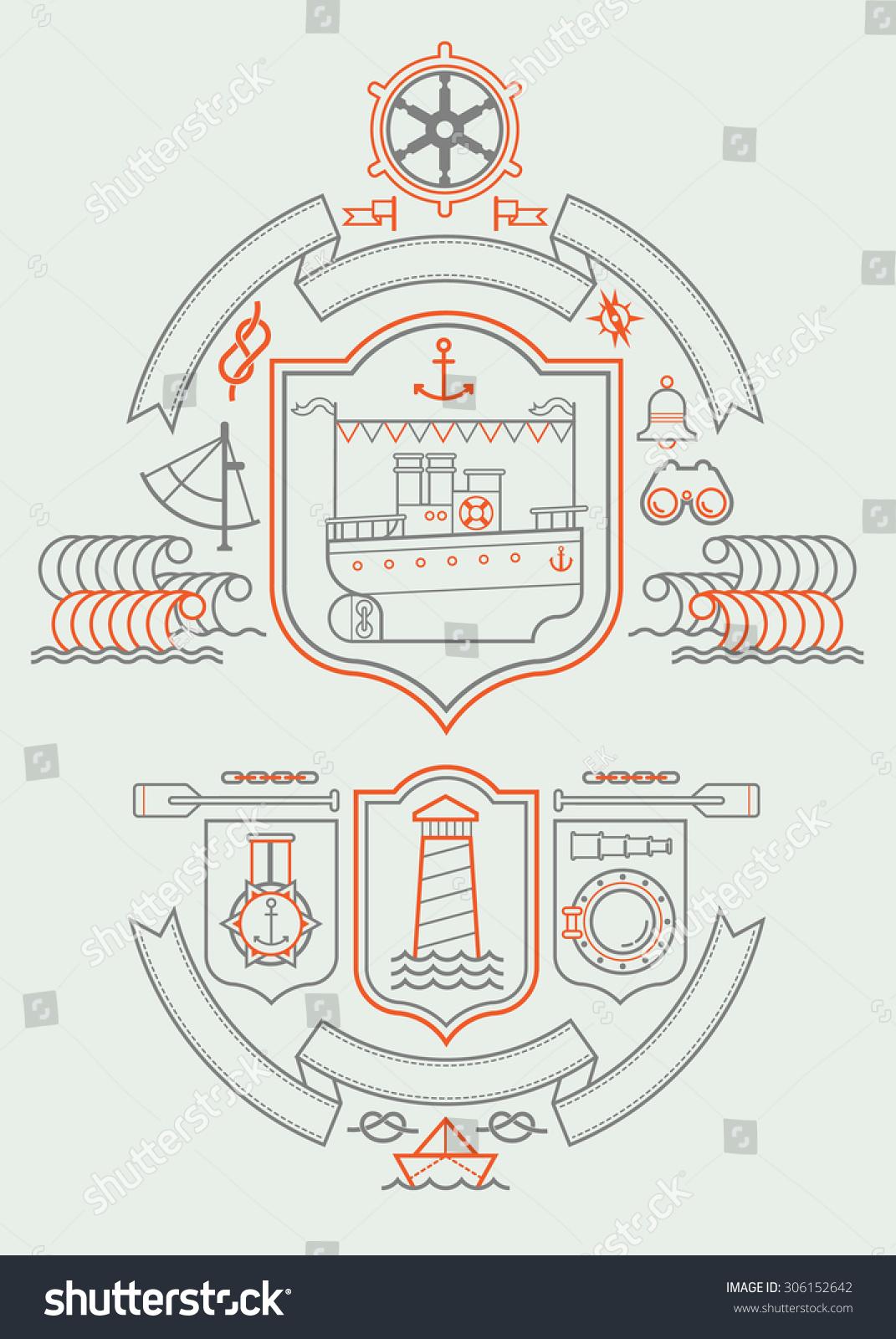 Composition sailing symbols cruise ship stock vector 306152642 composition with sailing symbols and cruise ship buycottarizona
