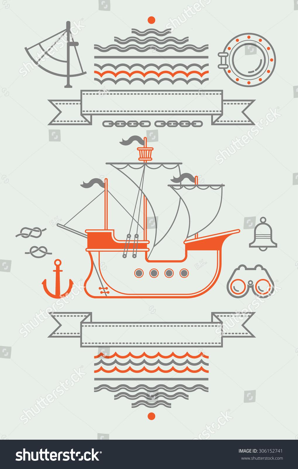 Composition sailing symbols historic caravel ship stock vector composition with sailing symbols and historic caravel ship buycottarizona