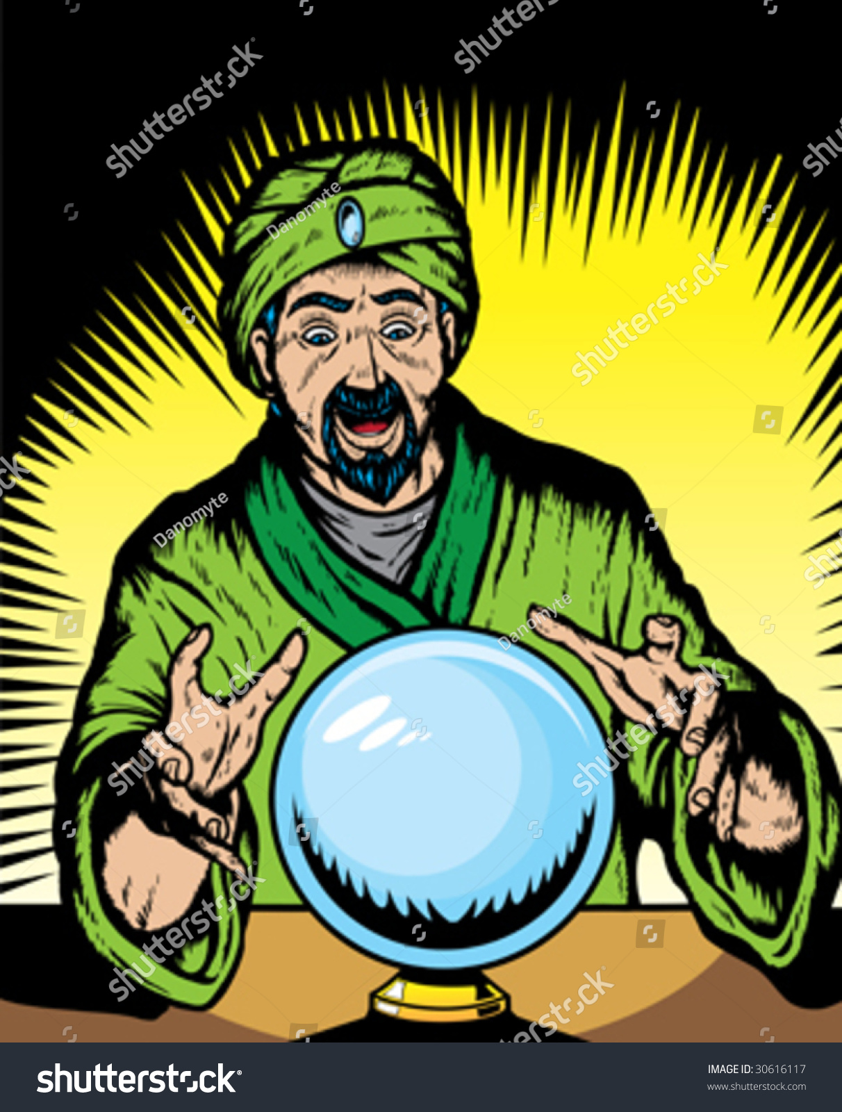 Fortune Teller Looking Into Globe Globe Stock Vector 30616117 ...