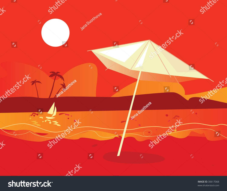 Tropical Beach Sunset Vector Illustration Tropical Stock