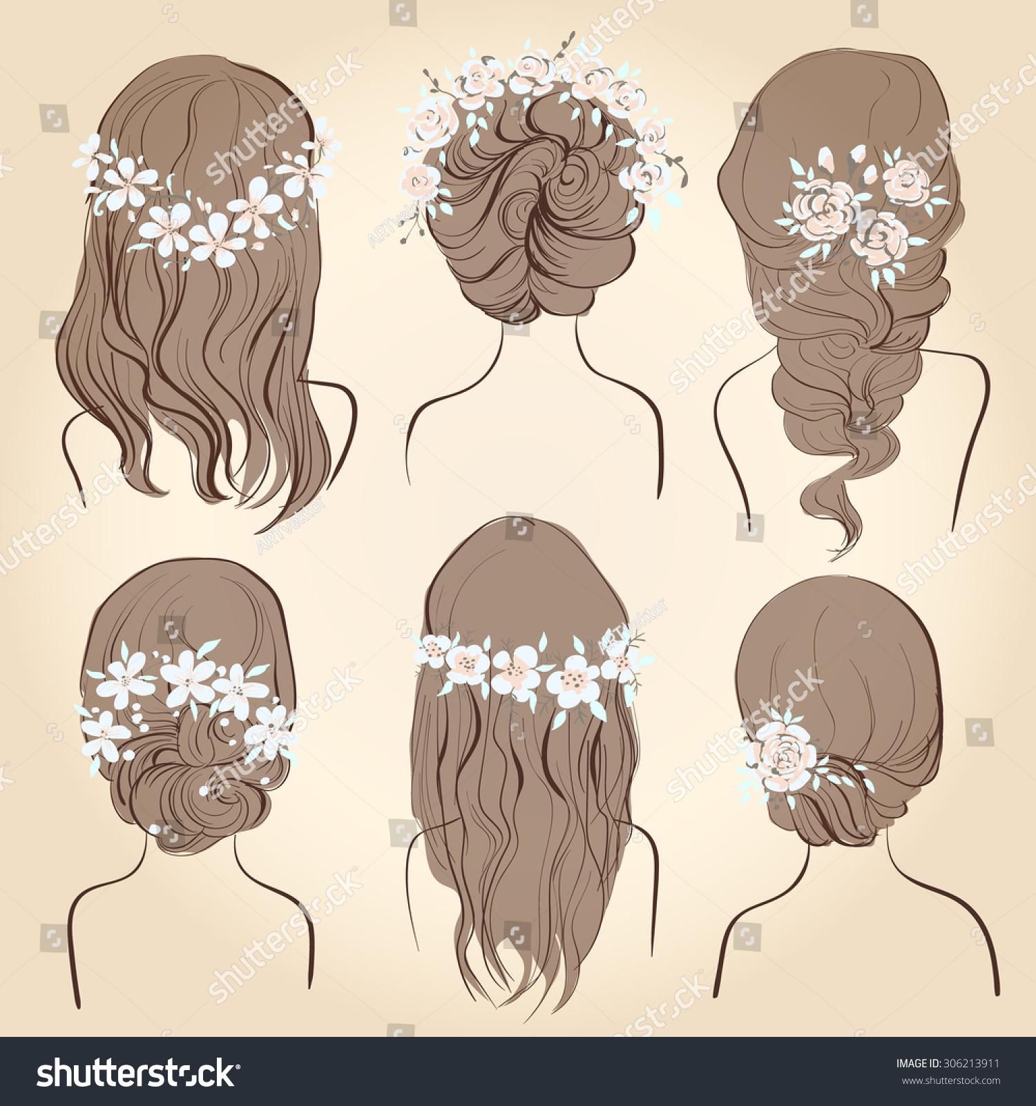 Set Different Vintage Style Hairstyles Wedding Stock Illustration ...