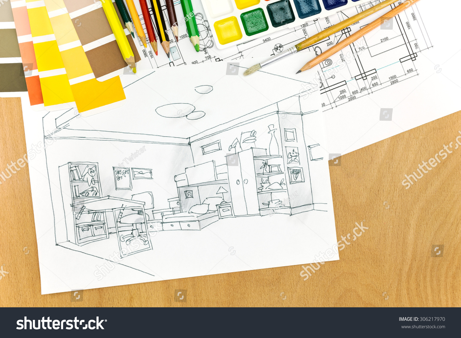 Royalty Free Architectural Plans Of Room Interior On 306217970 Desk Schematic A With Painting Tools