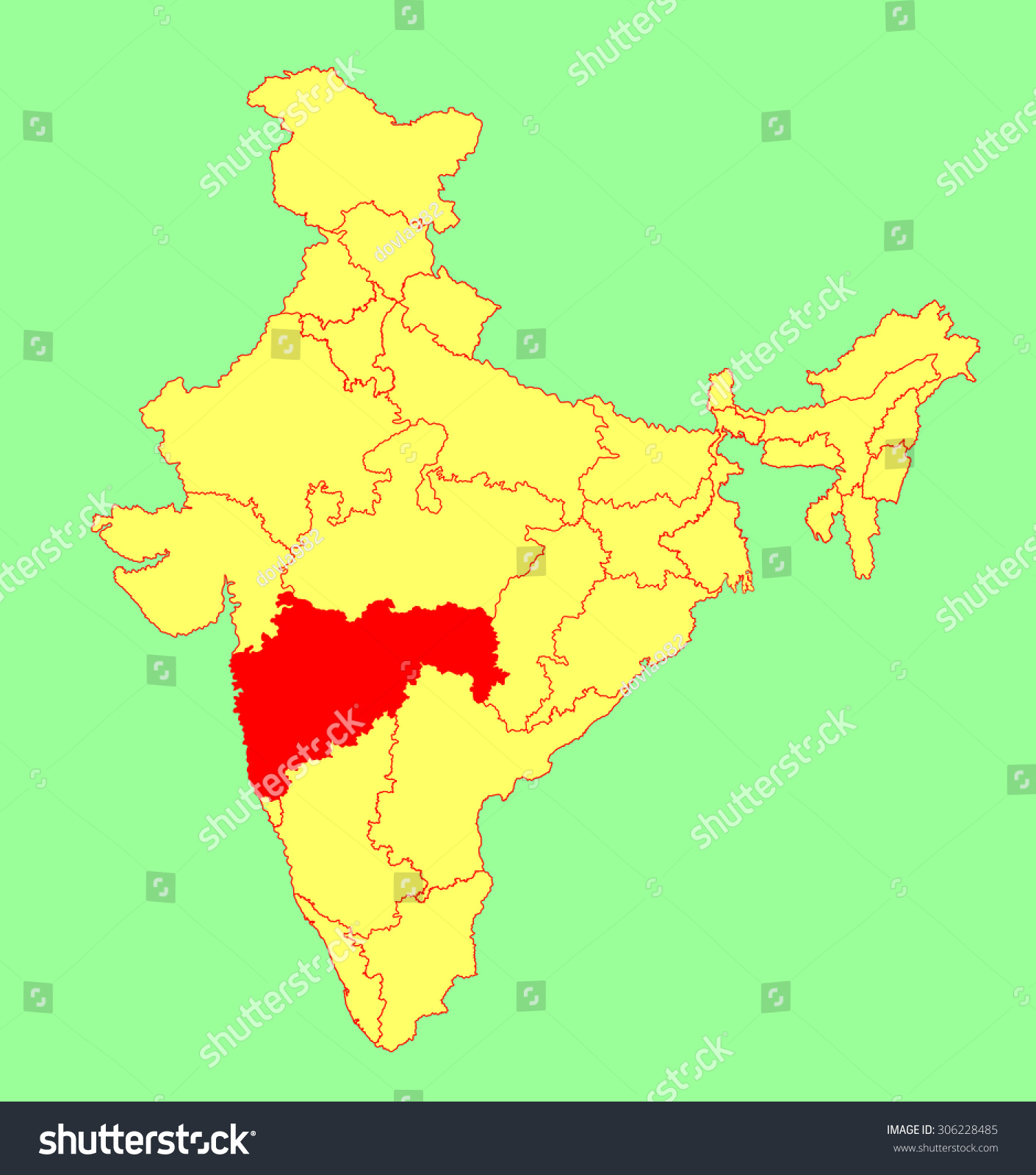 maharashtra state india vector map silhouette stock vector
