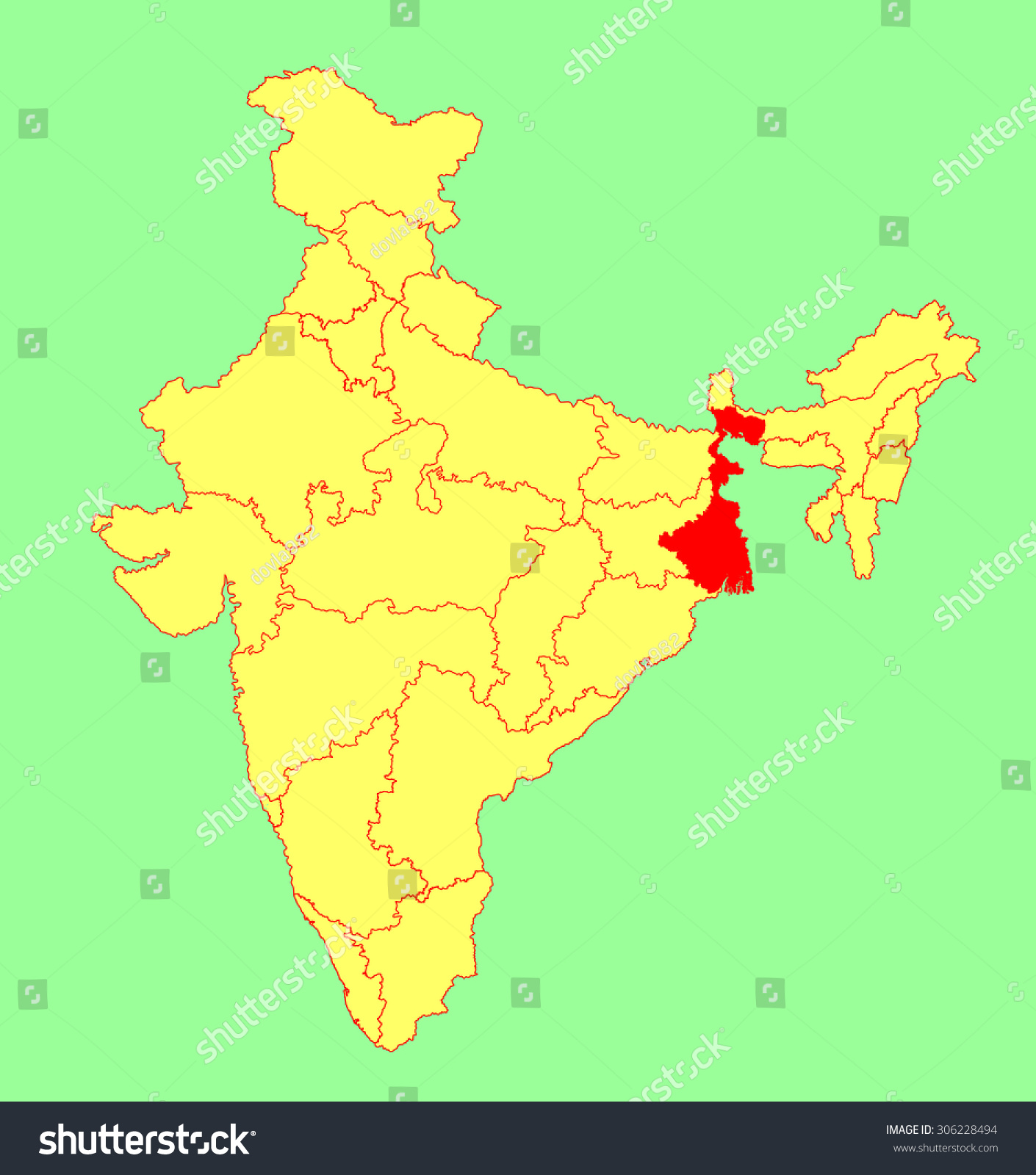 West bengal state india vector map stock vector 306228494 shutterstock west bengal state india vector map silhouette illustration isolated on india map editable gumiabroncs Gallery