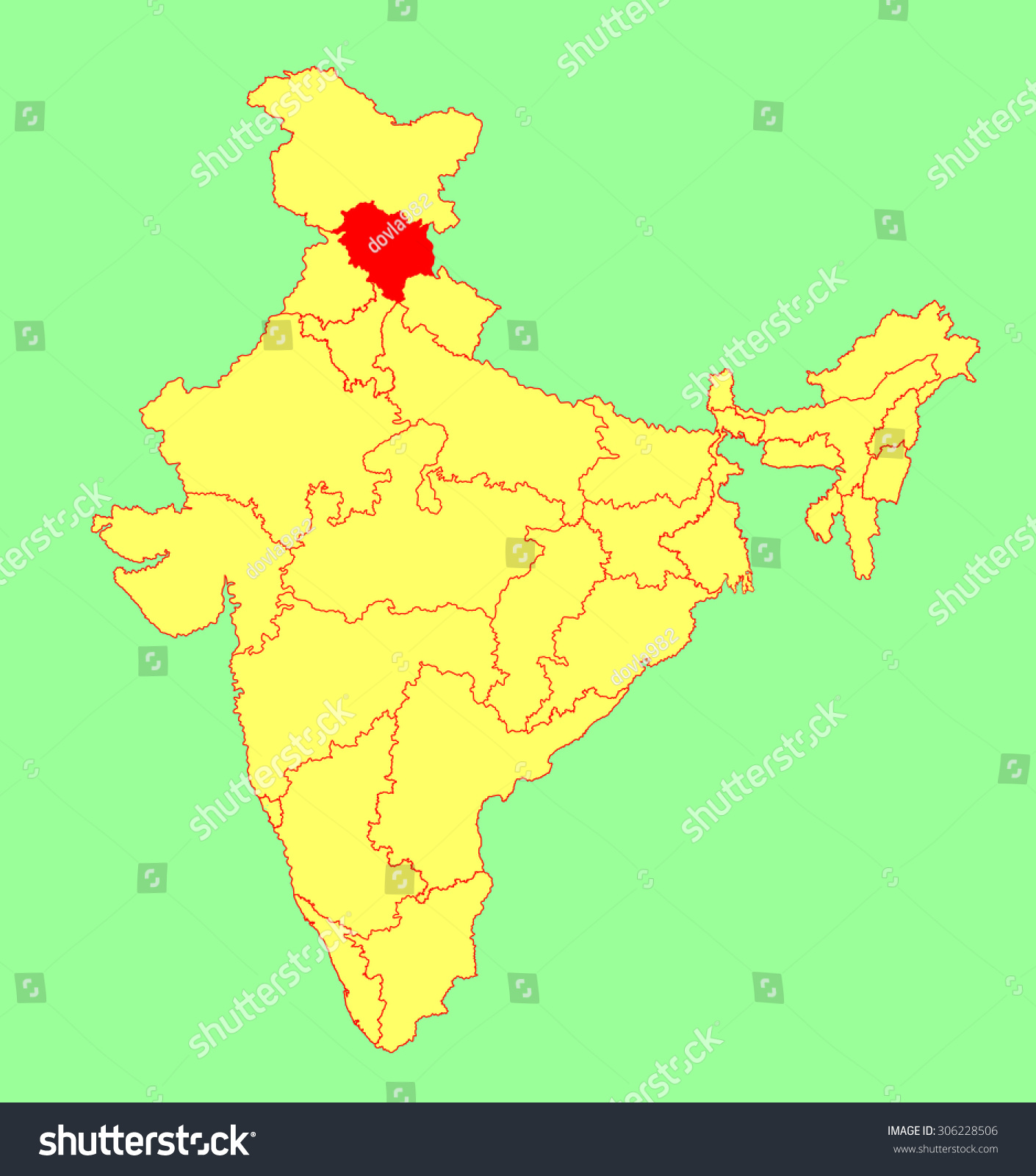 himachal pradesh state india vector map stock vector royalty free