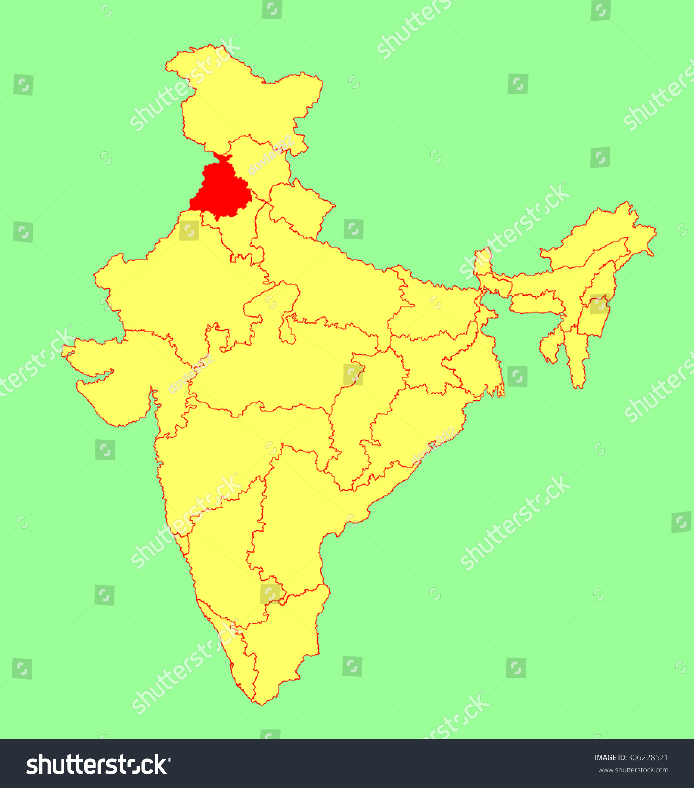 Punjab state india vector map silhouette stock vector 306228521 punjab state india vector map silhouette illustration isolated on india map editable blank buycottarizona Gallery