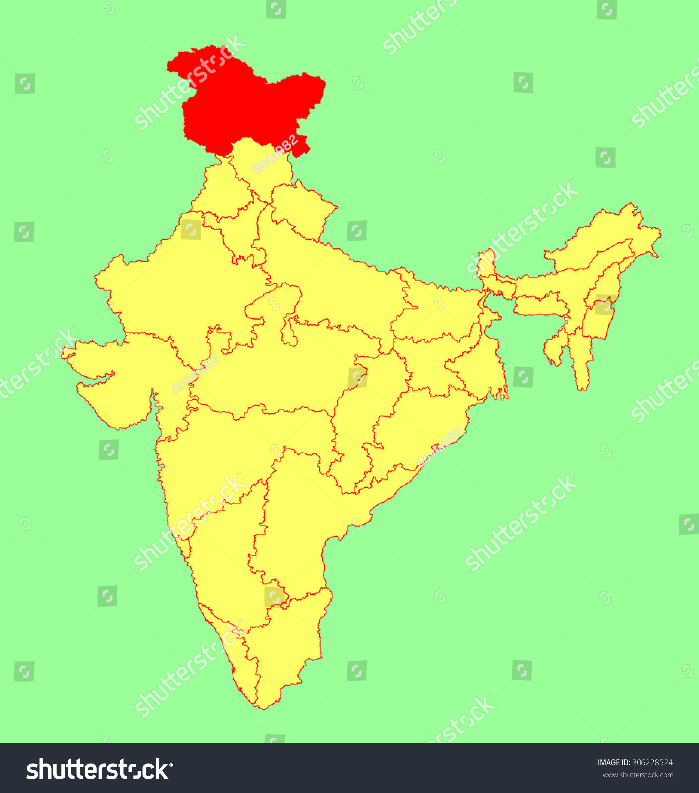 state, India, vector map silhouette illustration isolated on India map ...