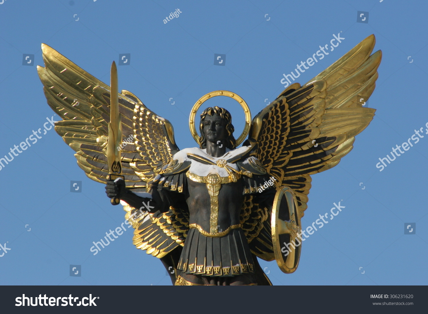 Royalty Free Archangel Michael Sculpture At 306231620 Stock Photo