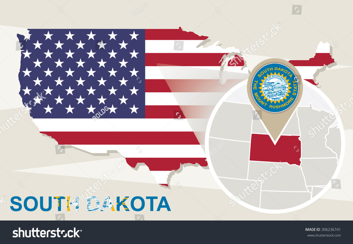 Usa Map Magnified South Dakota State Stock Vector 306236741