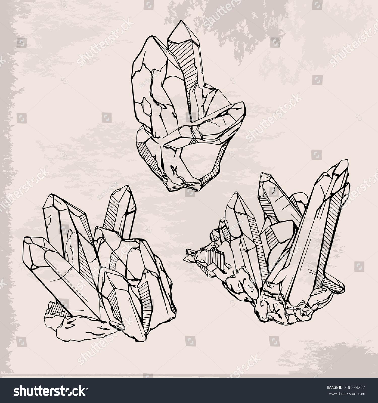 Hand Drawing Crystals Set. Crystal Gems Sketch