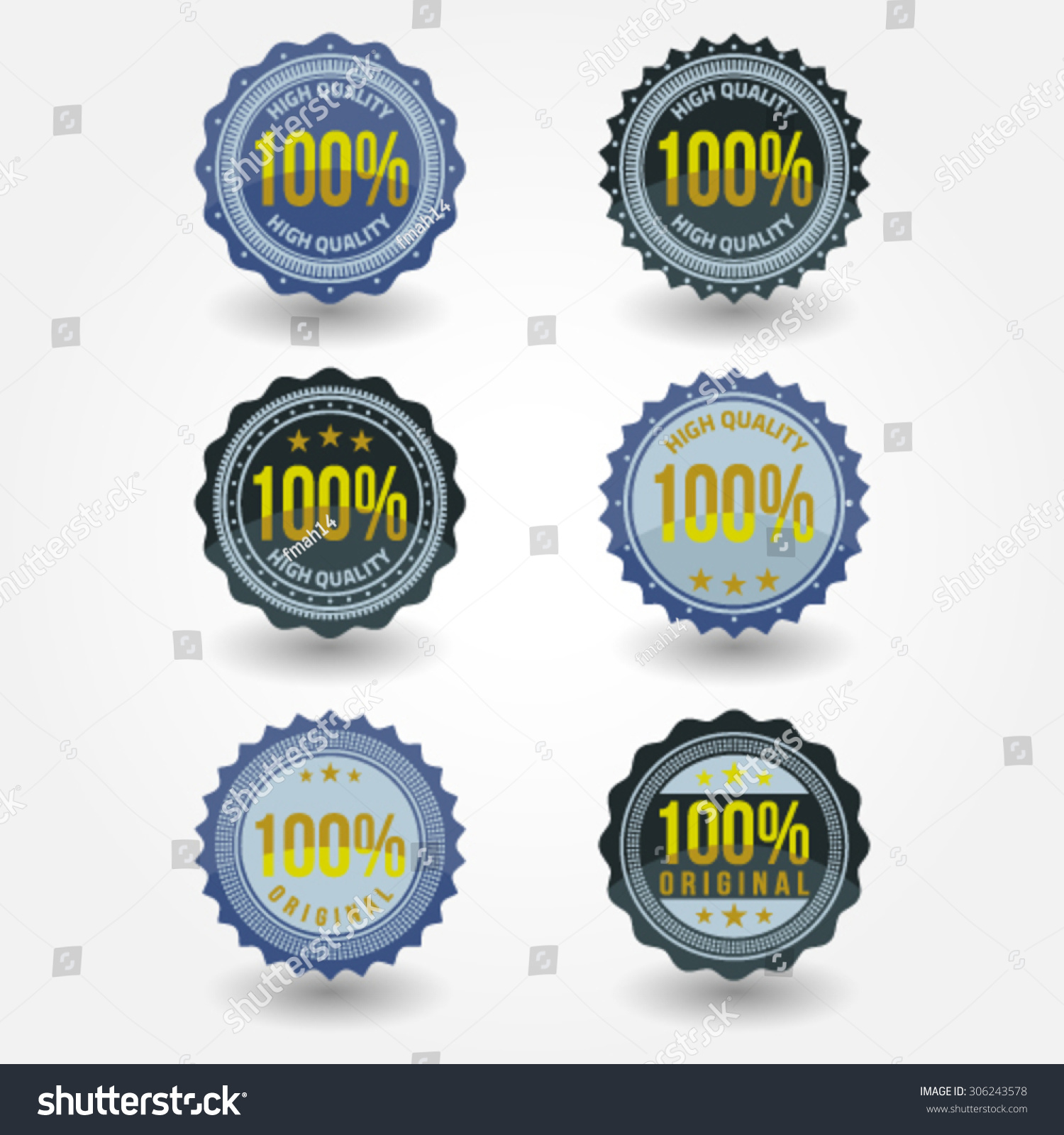 Vintage labels 100 percent high quality template set retro badges for your design vector
