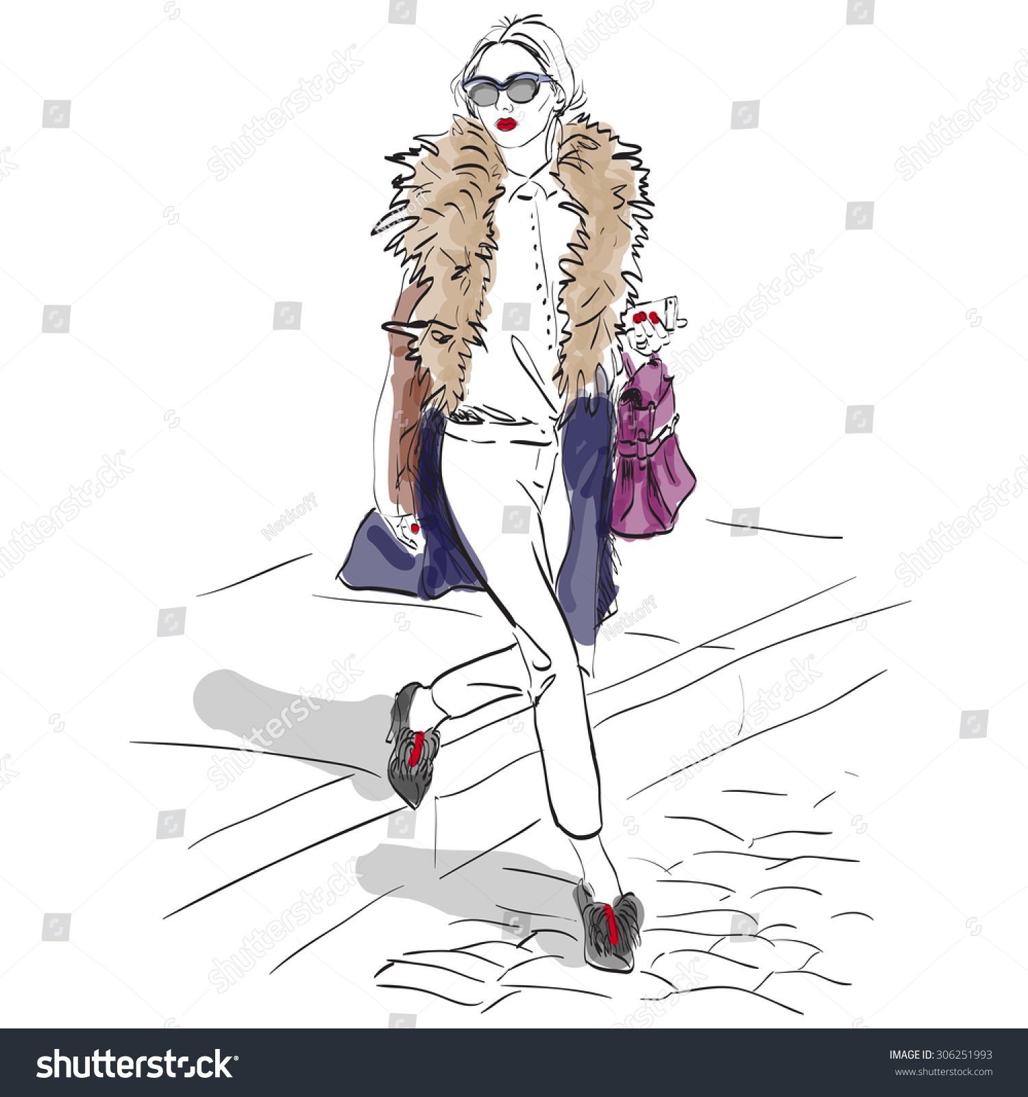 Model Fashion Sketch Excellent Vector Illustration Stock Vector Royalty Free 306251993